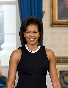 Zoom in to shoulders for for Michelle Obama's official White House portrait