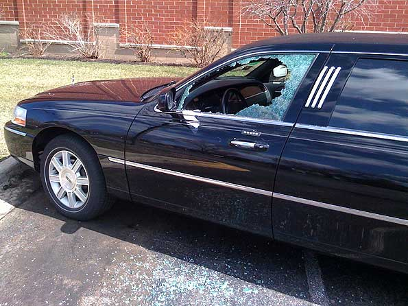 smash and grab gps from limo