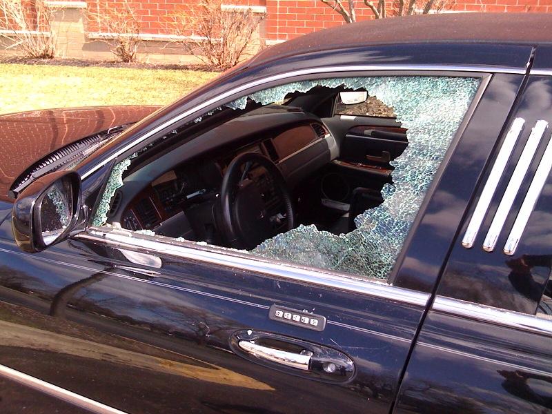 Smashed limo window, GPS stolen