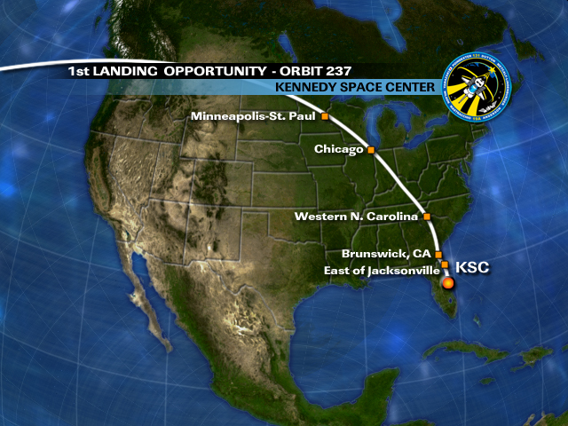 orbit 237  chance for space shuttle sighting over chicago