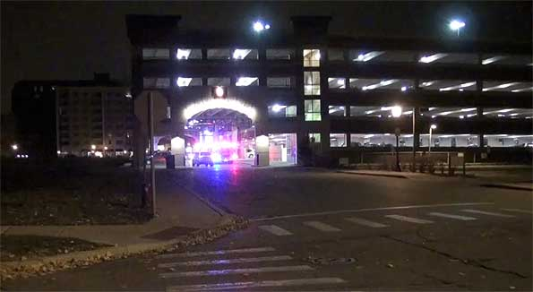 Injured man in parking garage
