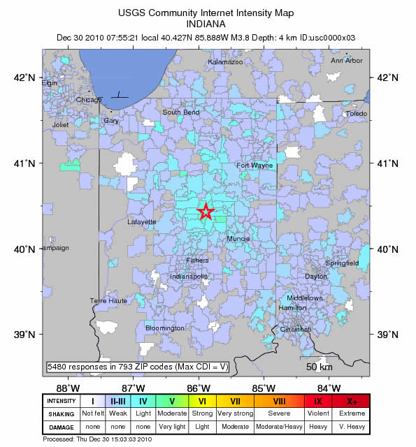 Indianapolis Greencastle Earthquake December 30, 2010
