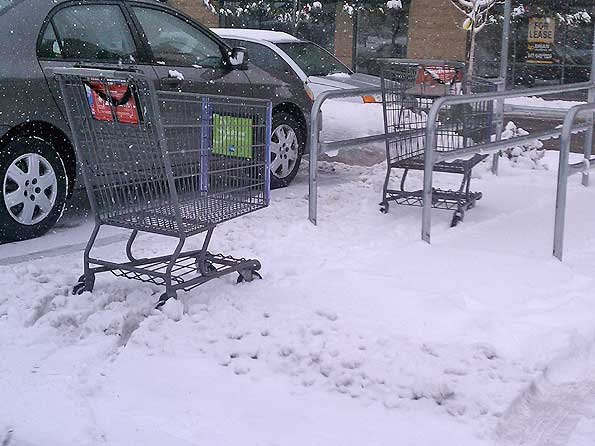 Jewel Osco Shopping Carts in Snow