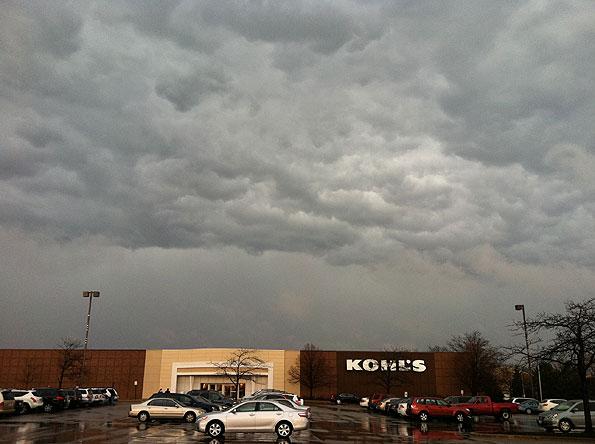 Lightning striking storm clouds
