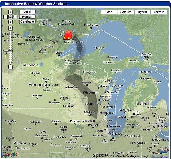 Pagami Creek Fire Map.Weather Underground Smoke Coverage Map Of Pagami Creek Superior