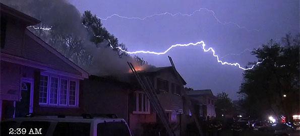 More Lightning Lights Up Sky After Striking House On Drury Ln At End