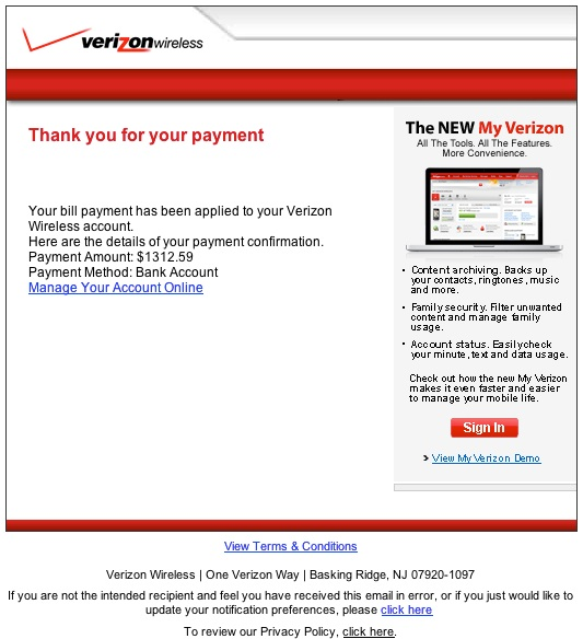 Be on the Lookout for Verizon Wireless Phishing Email   The