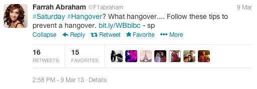 FarrahAbrahamHangoverTweet