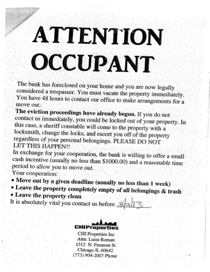 Sample eviction notice from