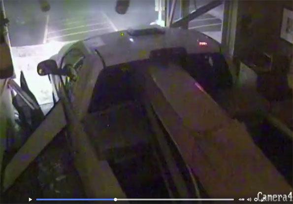 Smash and grab Subway burglary with pickup truck.