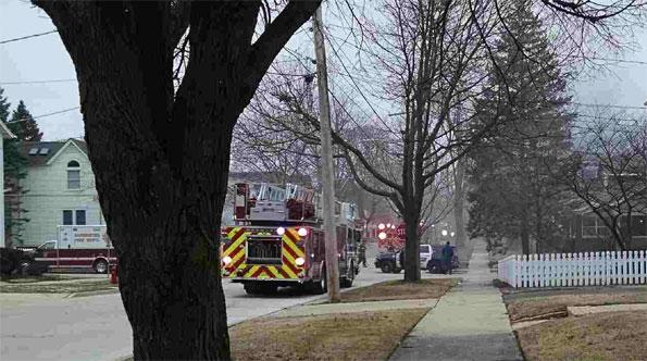 Barrington, Illinois house fire fought by Barrington Fire Department.