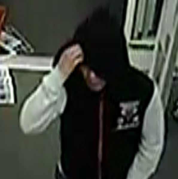 CVS robbery suspect black Bulls hoodie