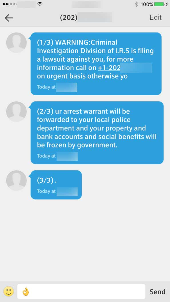 Scam IRS text message