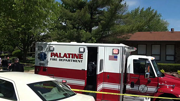 Palatine Fire Department ambulance at shooting scene on Randville Drive