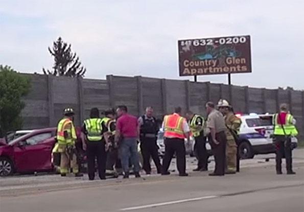 Crime scene congregation in inner perimeter at crash