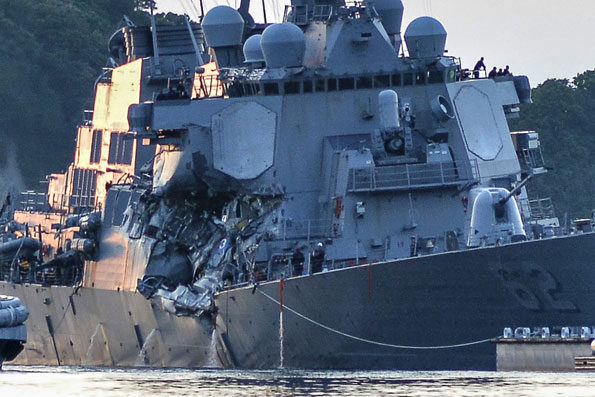 Damaged USS Fitzgerald Yokosuka June 17, 2017 PHOTO CREDIT: PETER BURGHART/U.S. NAVY