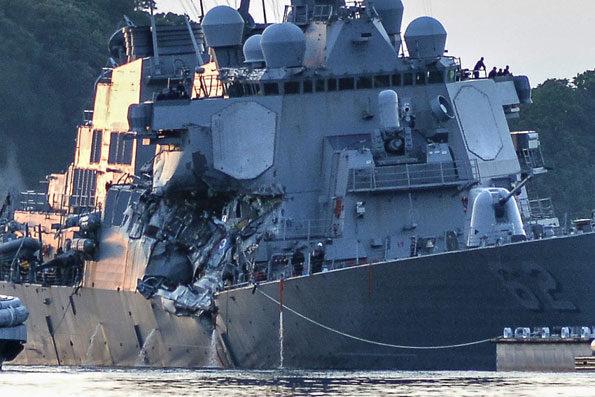 Damaged USS Fitzgerald Yokosuka June 17, 2017 PHOTO CREDIT: PETER BURGHART/U.S. NAVY