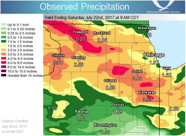 Precipitation Ending Saturday July 22, 2017 8:00 AM