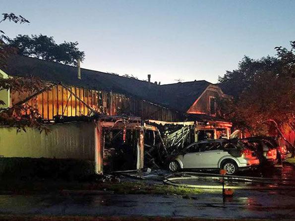 Townhouse fire damage on Oak Knoll Court Schaumburg