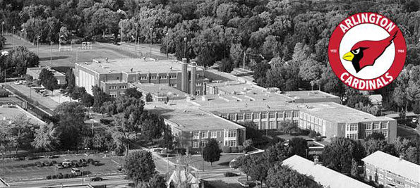 Arlington High School aerial photograph, Arlington Heights, Illinois