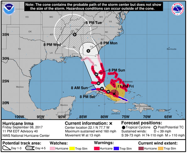 Irma Cone Map September 8 2017 at 11 PM EDT
