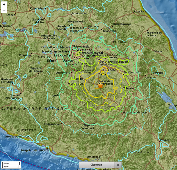Mexico City Earthquake Epicenter Tuesday September 19 2017