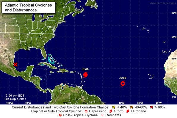 Hurricane Irma 2pm Tuesday September 5, 2017
