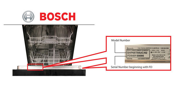 Bosch model number and serial number affected by October 2017 recall