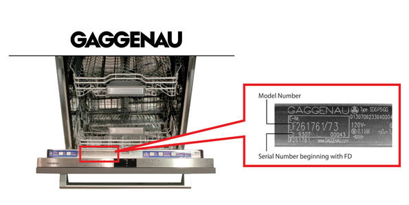 Gaggenau model number and serial number affected by October 2017 recall