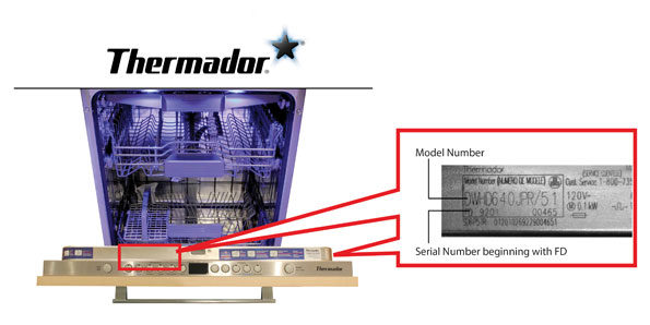Thermador model number and serial number affected by October 2017 recall