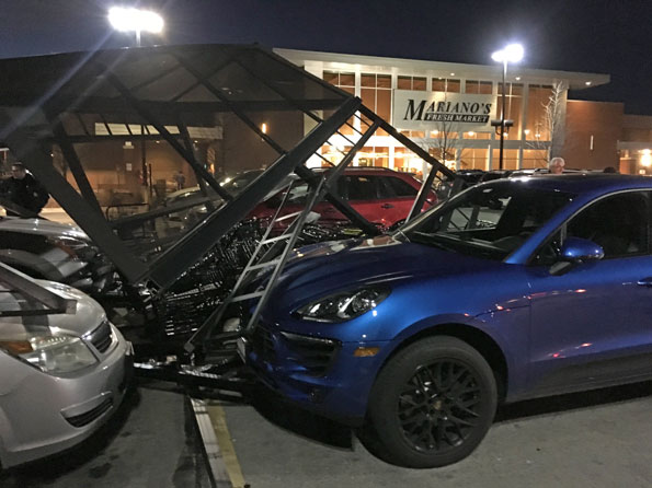 Mariano's shopping cart canopy crash, Arlington Heights