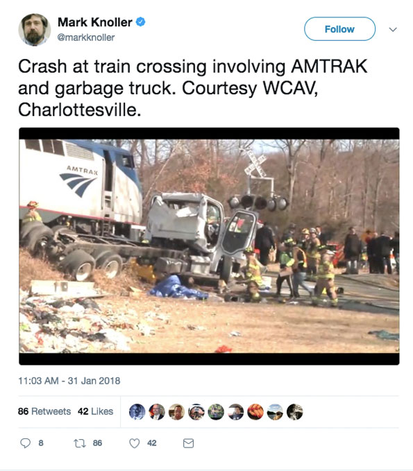 Mark Knoller Tweet showing  train crash scene near Crozet, Virginia