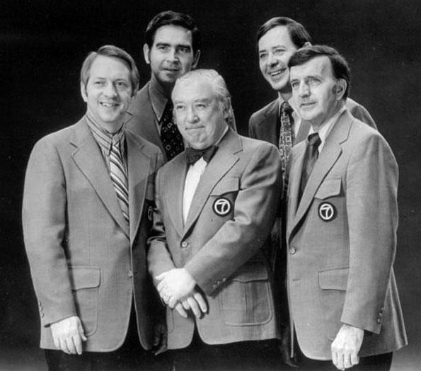 WLS-TV Eyewitness News team, 1972. Back, from left: anchor John Drury, anchor Joel Daly. Front, from left: weatherman John Coleman, anchor Fahey Flynn, sportscaster Bill Frink.