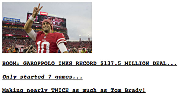 Jimmy Garoppolo salary on Drudge Report