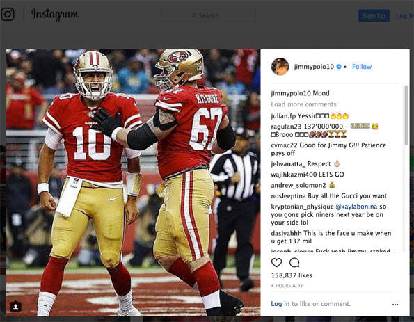 Jimmy Garoppolo Instagram Roar