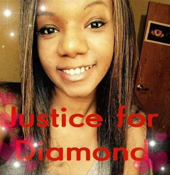 Justice for Diamond Bradley image posted on Grandma Rosie's Spring Valley Facebook page.