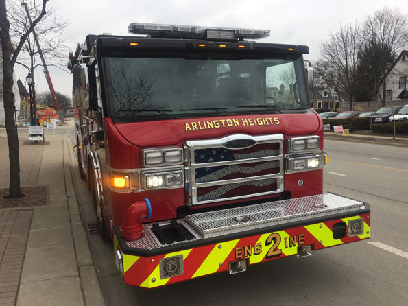 Arlington Heights Fire Department Engine 2 at Village Hall
