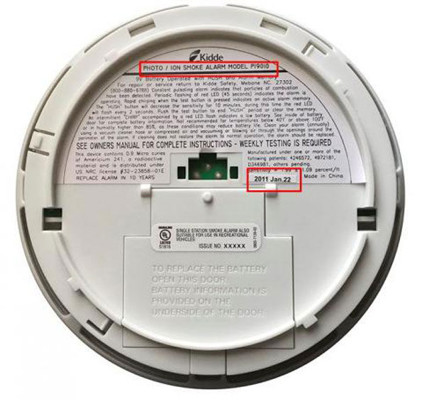 Kidde Recall Model Number Date Code