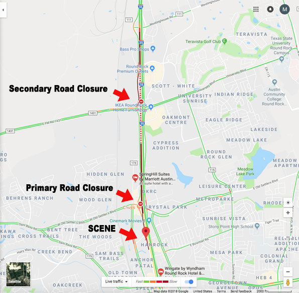 Round Rock I35 Serial Bomber Road Closures and Crime Scene Location