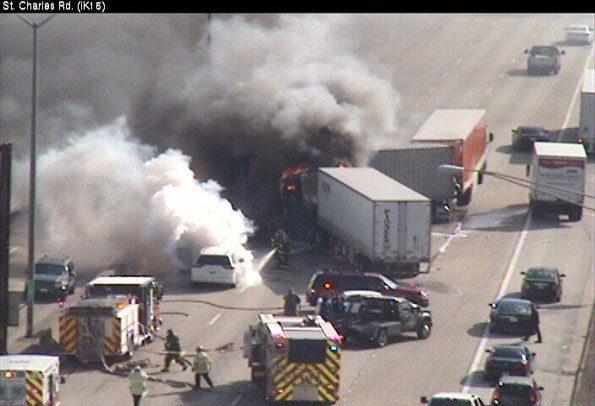 Truck Crash Fire on I-290 near St Charles Rd Elmhurst