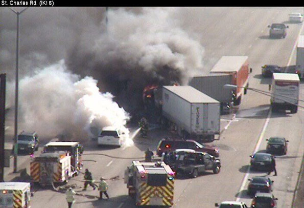Truck Crash Fire on I-290 near St Charles Rd Elmhurst