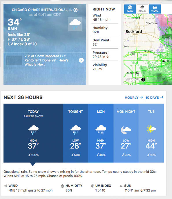 The Weather Channel showing data and forecast from O'Hare