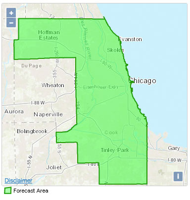 Click on Arlington Heights, IL on NWS map with abnormal countywide response showing entire Cook County