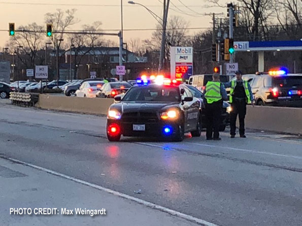 Highland Park Police at Crash at Route 41 and Route 22 (PHOTO CREDIT: Max Weingardt)