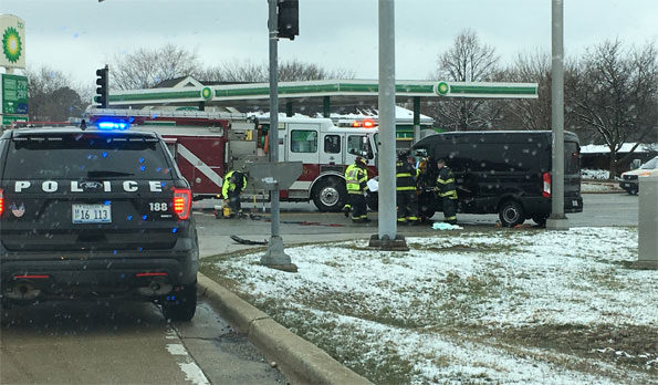 Ford Transit crash at Euclid and Hicks Rd Rolling Meadows