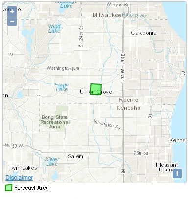Click on Union Grove, WI on NWS map with normal local area response