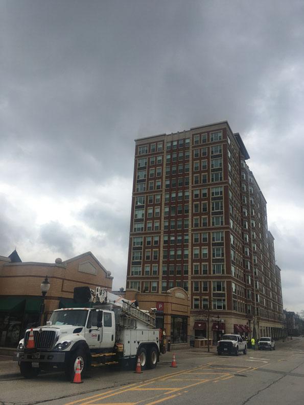 power failure in downtown  train gates stuck down in