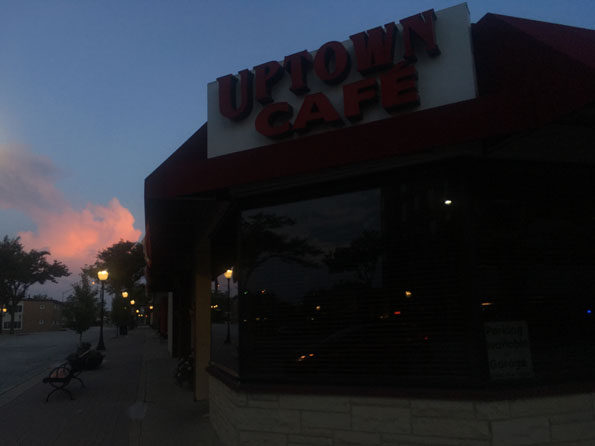 Uptown Cafe with dissipating thunderstorm tops over DeKalb County, entering Kane County Monday morning
