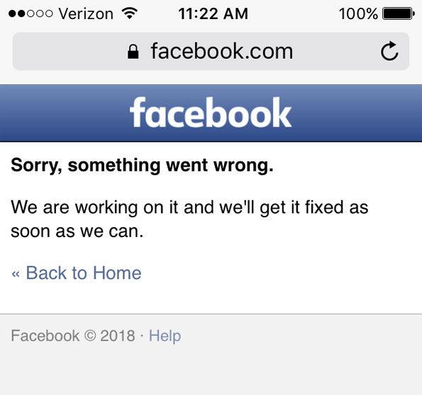 Facebook Down August 3 2018