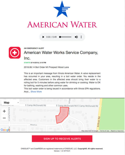 Mount Prospect Water Alert from  Illinois American Water August 14, 2018